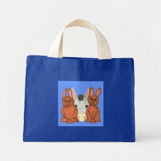 Conejitos y bolso del burro bolsa de tela pequeña