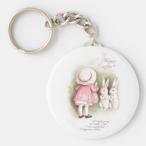 Conejitos y chica blancos gallardos de pascua en v llavero redondo tipo pin