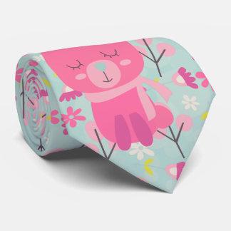 Conejitos y flores rosados corbatas personalizadas