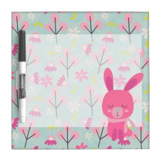 Conejitos y flores rosados pizarras