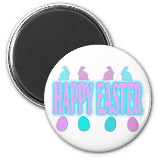Conejitos y huevos felices de pascua imán redondo 5 cm
