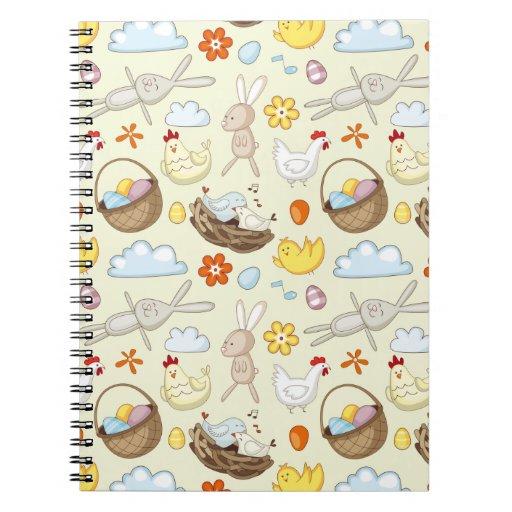 Conejitos y pájaros flotantes de pascua libro de apuntes con espiral