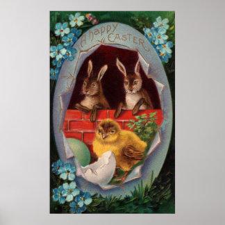 Conejitos y poster de Pascua del polluelo