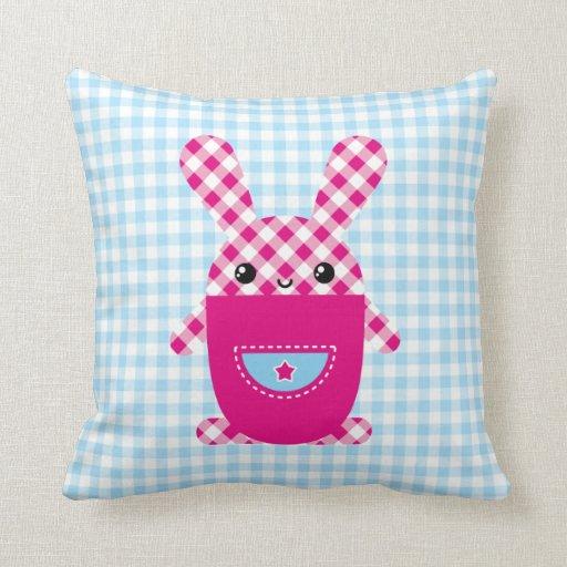 Conejo a cuadros de Kawaii Cojín Decorativo