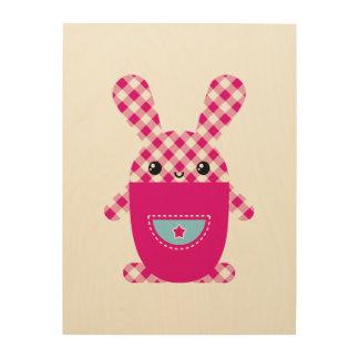 Conejo a cuadros de Kawaii Cuadro De Madera
