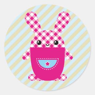 Conejo a cuadros de Kawaii Etiqueta Redonda