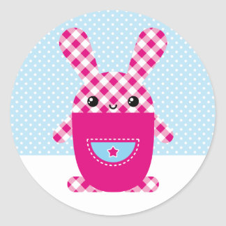 Conejo a cuadros de Kawaii Etiquetas Redondas