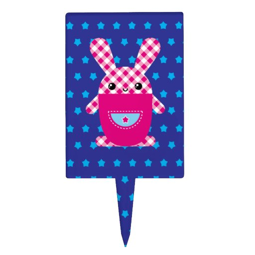 Conejo a cuadros de Kawaii Figura Para Tarta