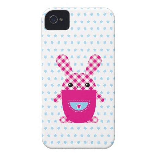 Conejo a cuadros de Kawaii iPhone 4 Case-Mate Protector