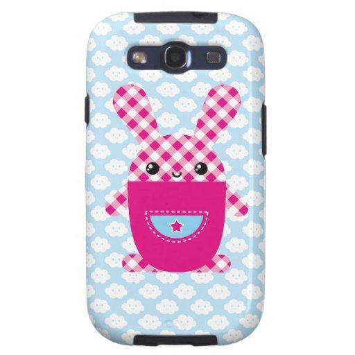 Conejo a cuadros de Kawaii Galaxy S3 Fundas