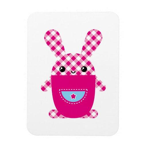 Conejo a cuadros de Kawaii Imanes De Vinilo