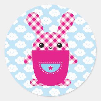 Conejo a cuadros de Kawaii Pegatina Redonda