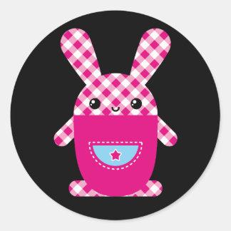 Conejo a cuadros de Kawaii Pegatinas Redondas
