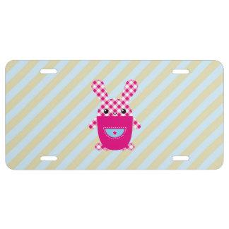 Conejo a cuadros de Kawaii Placa De Matrícula