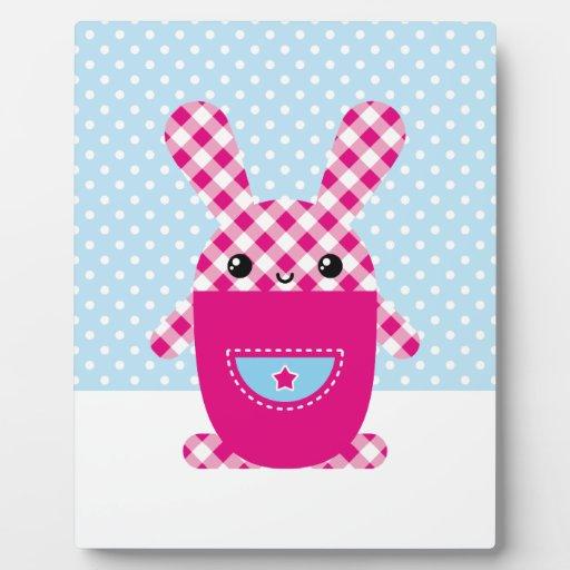 Conejo a cuadros de Kawaii Placa De Plastico