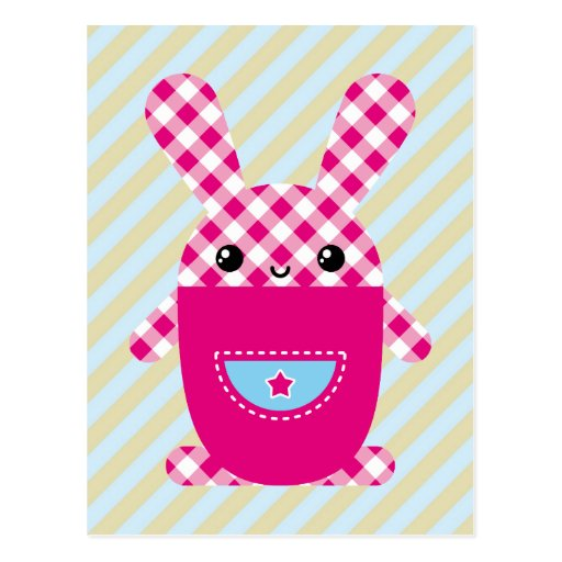 Conejo a cuadros de Kawaii Postales