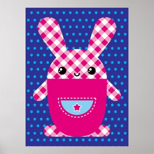 Conejo a cuadros de Kawaii Poster
