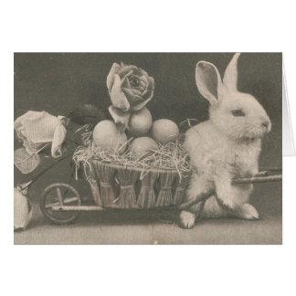 Conejo adorable de Pascua del vintage Tarjeta De Felicitación