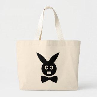conejo agradable con el icono de la pajarita bolsa tela grande