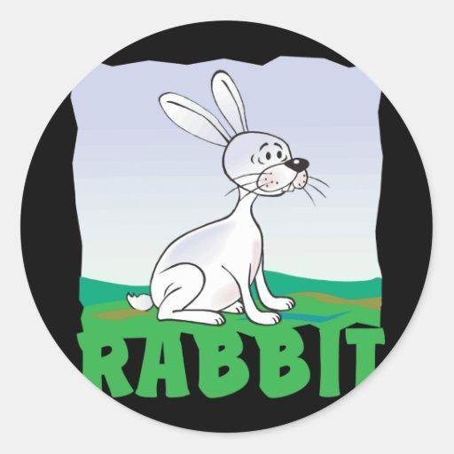 Conejo amistoso del niño pegatina redonda