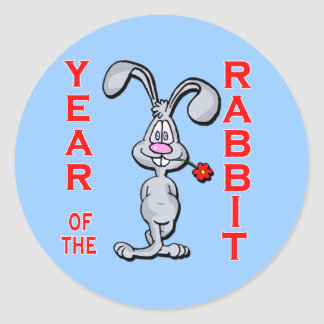 Conejo año del dibujo animado de los regalos del pegatina redonda