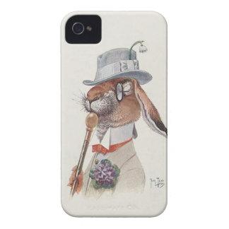 Conejo antropomorfo del vintage divertido iPhone 4 Case-Mate protectores