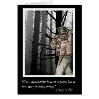 Conejo antropomorfo y cita de Henry Miller Tarjeta De Felicitación
