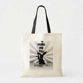 Conejo armado enojado divertido bolsas de mano