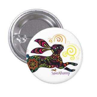Conejo artístico pin redondo de 1 pulgada