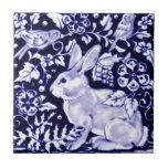 Conejo azul de Dedham, diseño azul y blanco Teja Cerámica