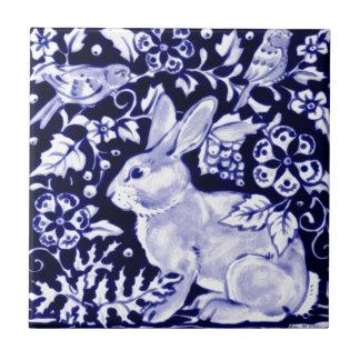 Conejo azul de Dedham, diseño azul y blanco Azulejo Cuadrado Pequeño