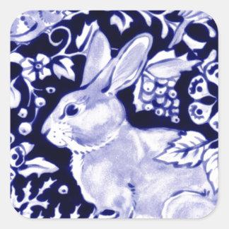 Conejo azul de Dedham, diseño azul y blanco Pegatina Cuadrada