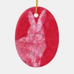 Conejo blanco adorno ovalado de cerámica