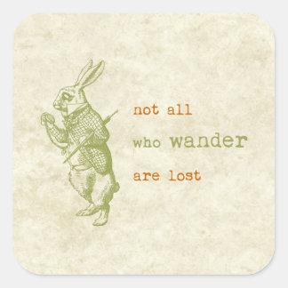 Conejo blanco, Alicia en el país de las maravillas Calcomanías Cuadradas Personalizadas