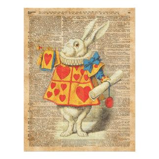 """Conejo blanco Alicia en ilustraciones del vintage Folleto 8.5"""" X 11"""""""