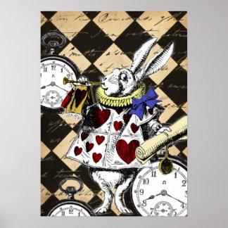 Conejo blanco Alicia en la impresión del poster de