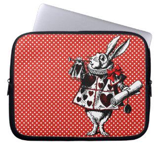 Conejo blanco Alicia en manga del ordenador portát Fundas Computadoras