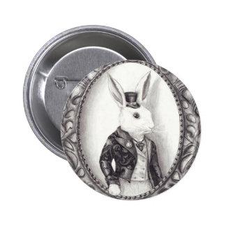 Conejo blanco - botón pin redondo de 2 pulgadas