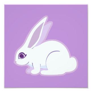 Conejo blanco con arte largo de los oídos cojinete
