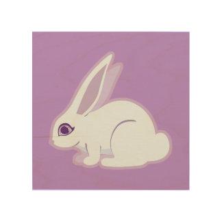 Conejo blanco con arte largo de los oídos cuadros de madera