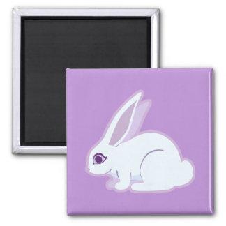 Conejo blanco con arte largo de los oídos imán cuadrado