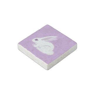 Conejo blanco con arte largo de los oídos imán de piedra