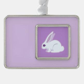 Conejo blanco con arte largo de los oídos adornos navideños