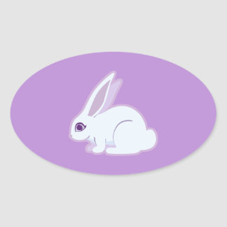 Conejo blanco con arte largo de los oídos pegatina ovalada