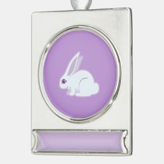 Conejo blanco con arte largo de los oídos adornos personalizables