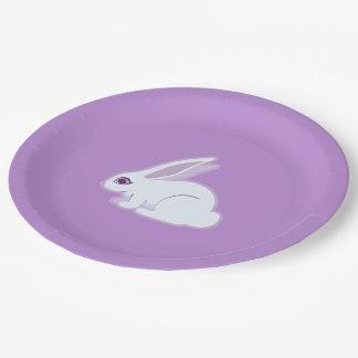 Conejo blanco con arte largo de los oídos plato de papel de 9 pulgadas