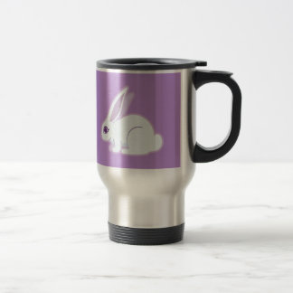 Conejo blanco con arte largo de los oídos taza térmica