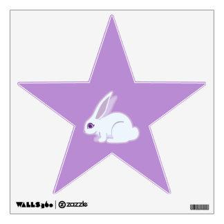 Conejo blanco con arte largo de los oídos vinilo adhesivo