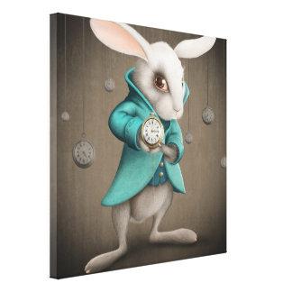 conejo blanco con el reloj impresiones en lienzo estiradas