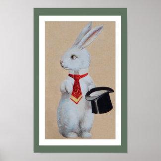 Conejo blanco con Tophat Poster